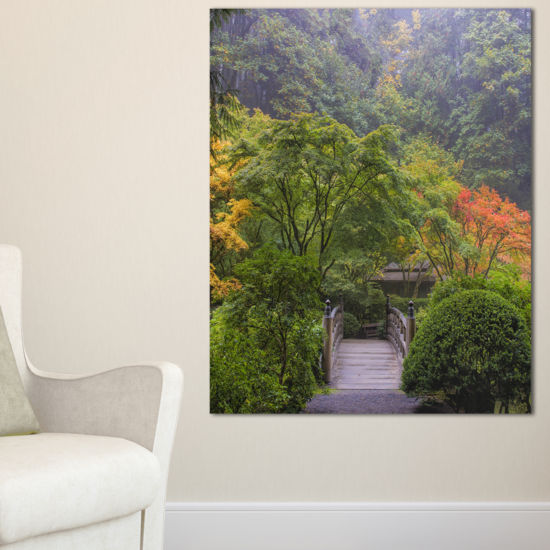 Designart Foggy Dawn In Japanese Garden Canvas Art