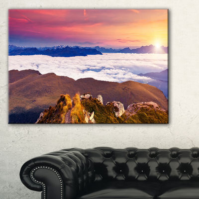 Designart Foggy Val Gardena Valley Panorama Canvas Art