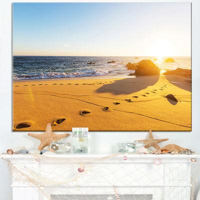 Designart Large Footprints On Beach Sand Canvas Art