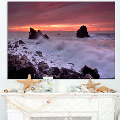 Designart Force Of Sea Hitting Rocky Coast Canvas Art