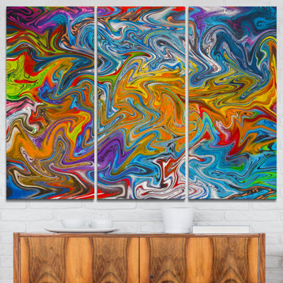 Designart Fractal Flowing Colors 3-pc. Canvas Art