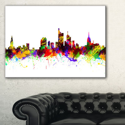 Designart Frankfurt Germany Skyline 3-pc. Canvas Art