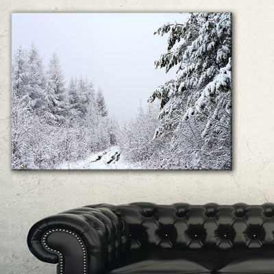 Designart Frosted Forest Trail In Fall Canvas Art