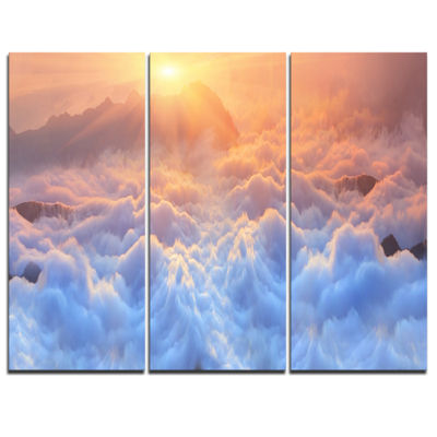 Designart Frosty Carpathian Mountains 3-pc. Canvas Art