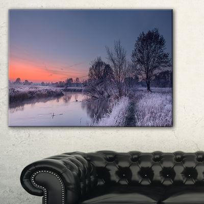 Designart Frosty Fall Morning Panorama Canvas Art