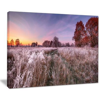 Designart Frosty Fall Trees With Red Leaves Canvas Art