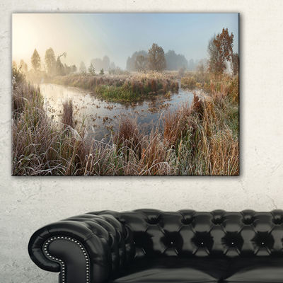 Designart Frosty Grass Aside River Panorama Canvas Art