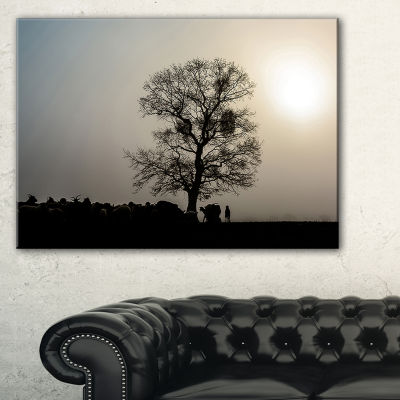 Designart Frosty Spring Morning Sunrise With Tree Canvas Art