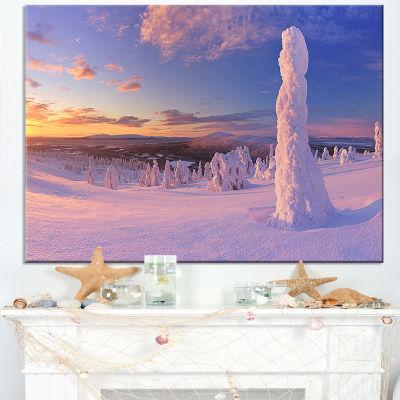 Designart Frozen Trees On Mountain Panorama Canvas Art