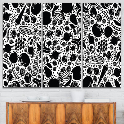 Designart Fruits And Vegetables Pattern 3-pc. Canvas Art