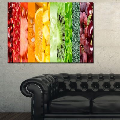 Designart Fruits Berries And Vegie Collage 3-pc. Canvas Art