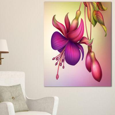 Designart Fuchsia Flowers With Green Leaves Canvas Art
