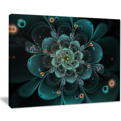 Designart Full Bloom Fractal Flower In Blue Canvas Art