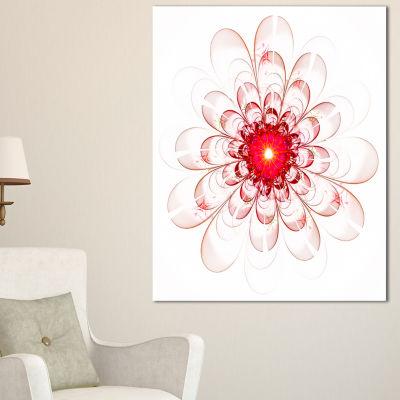 Designart Full Bloom Fractal Flower In Red Canvas Art