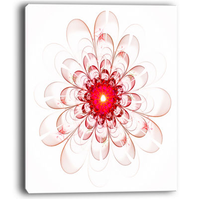 Designart Full Bloom Fractal Flower In Red Canvas Art