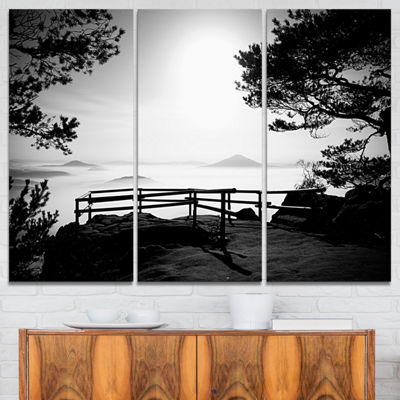Designart Full Moon Autumn Midnight In Black 3-pc. Canvas Art