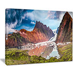 Designart Glacier And Lake At Sunrise Panorama Canvas Art