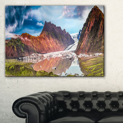 Designart Glacier And Lake At Sunrise Panorama Canvas Art