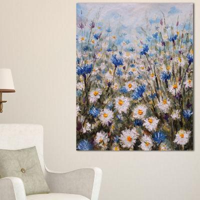 Designart Glade Of Cornflowers And Daisies Canvas Art