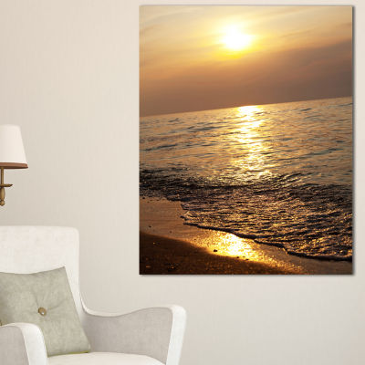 Designart Gloomy Beach And Waters At Sunset Canvas Art