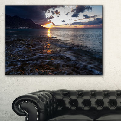 Designart Gloomy Sea Coast At Sunrise Canvas Art