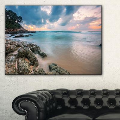 Designart Gloomy Tropical Sunset Beach Canvas Art