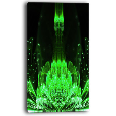 Designart Glossy Bright Green Fractal Flower Canvas Art