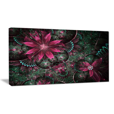 Designart Glossy Green And Red Fractal Flowers Canvas Art