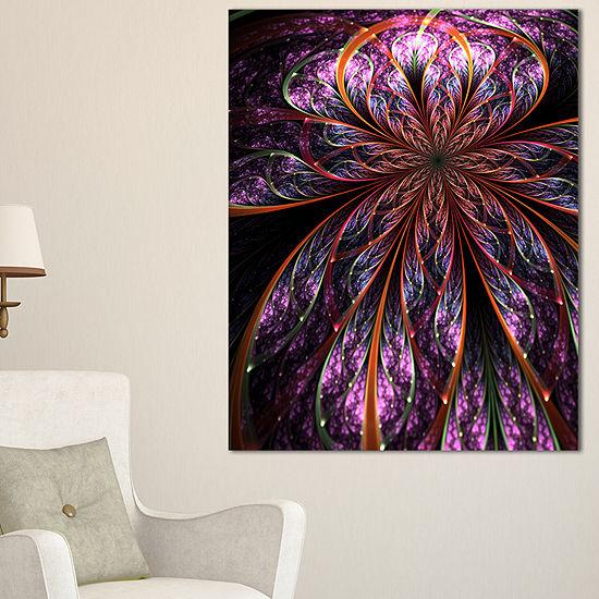 Designart Glossy Pink Blue Fractal Flower Canvas Art