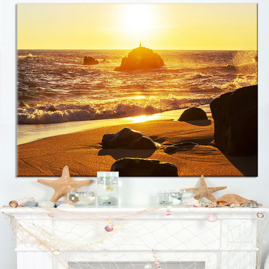 Designart Glowing Waters Of Seashore Canvas Art