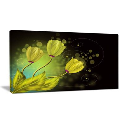 Designart Golden Flowers Greeting Card Canvas Art