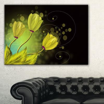 Designart Golden Flowers Greeting Card 3-pc. Canvas Art