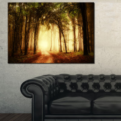 Designart Golden Forest In Fall Morning 3-pc. Canvas Art