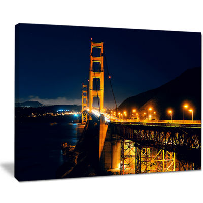 Designart Golden Gate At Night Canvas Art