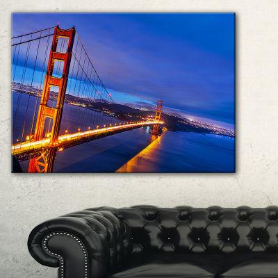 Designart Golden Gate In Blue Background Canvas Art
