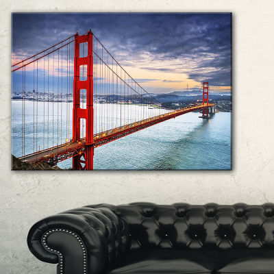 Designart Golden Gate Under Cloudy Sky Canvas Art