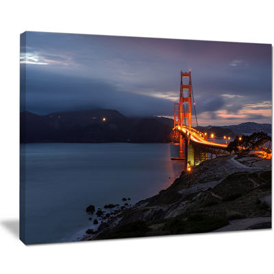 Designart Golden Gate With Night Illumination Canvas Art