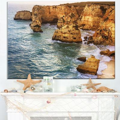 Designart Golden Rocks And Beach At Algarve Canvas Art