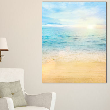 Designart Golden Sand With Blue Sea Waters Canvas Art