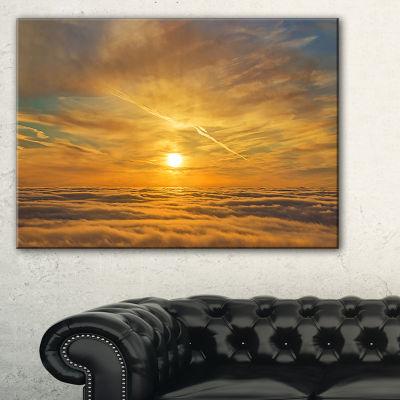 Designart Golden Sunset Over Clouds Canvas Art
