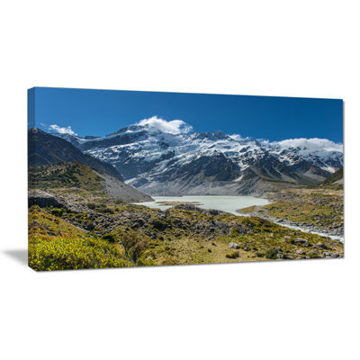 Designart Green And White Mountains New Zealand Canvas Art