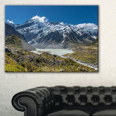 Designart Green And White Mountains New Zealand Canvas Art