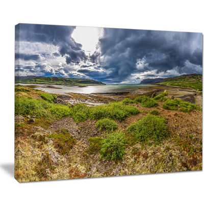 Designart Green Cloudy Coast Panorama Canvas Art