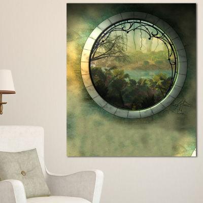 Designart Green Fantasy Landscape With Frame Canvas Art