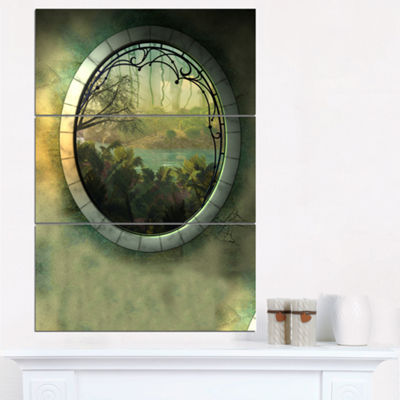 Designart Green Fantasy Landscape With Frame 3-pc. Canvas Art