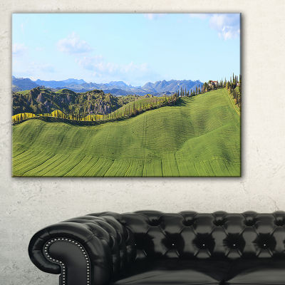 Designart Green Field With Cypress Trees Panorama Canvas Art