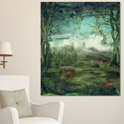 Designart Green Forest Glade Canvas Art