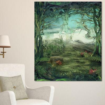 Designart Green Forest Glade 3-pc. Canvas Art