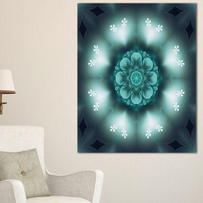 Designart Green Fractal Flower Mandala Shape Canvas Art
