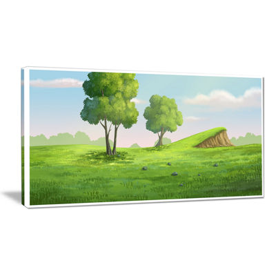 Designart Green Garden With Mound And Trees Canvas Art